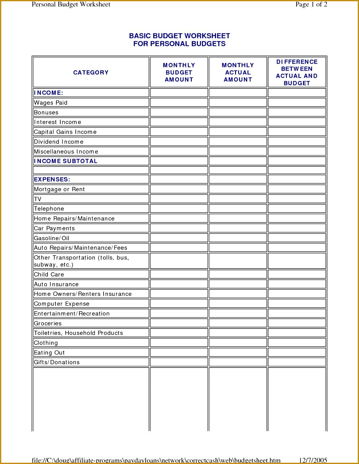 Basic Bud Worksheet Template 11851534