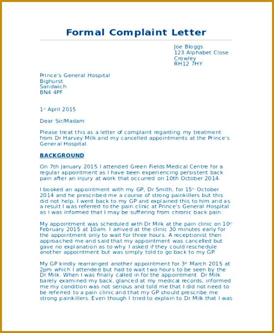 Formal Medical plaint Letter 678558