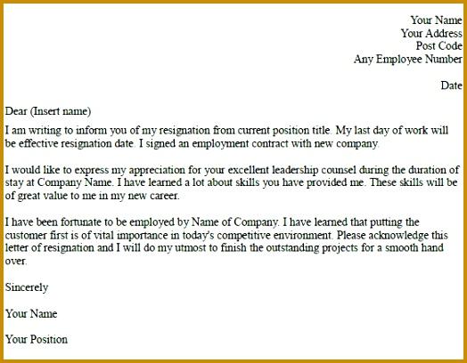 resignation letter example 408524