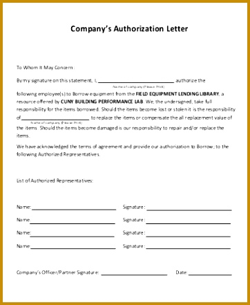 Sample pany Authorization Letter Pics s Format For Vehicle 362441