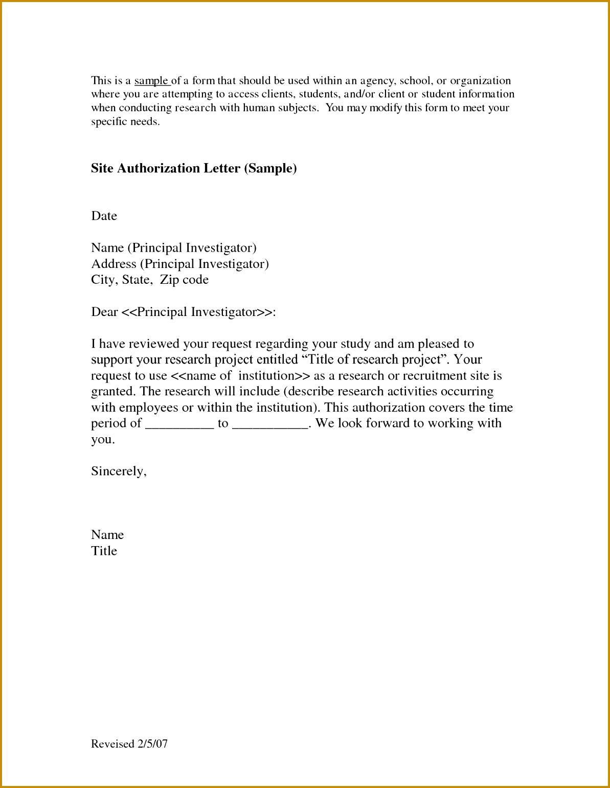 Site Authorization Letter Sample Download as DOC 15411193