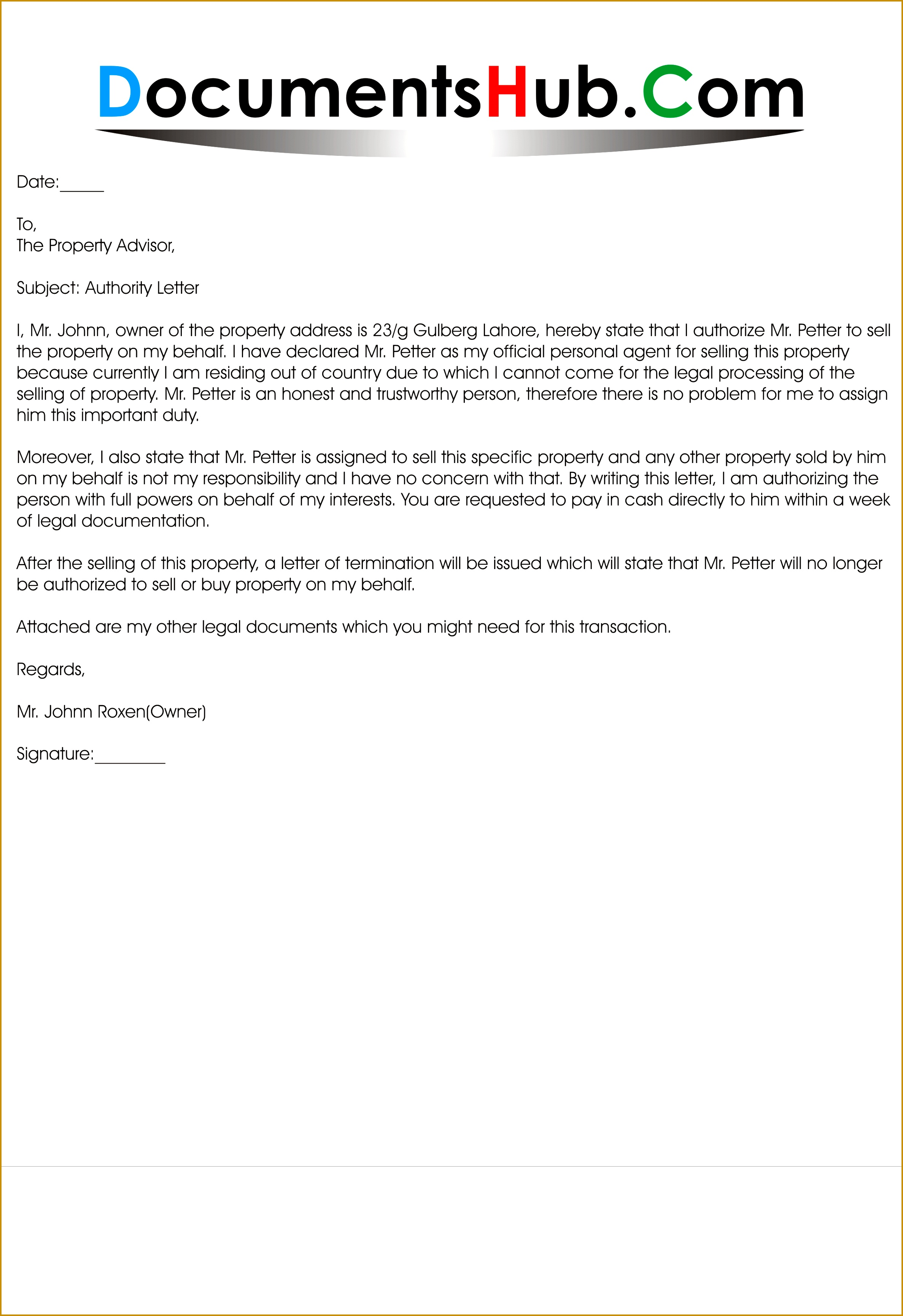 Example of Authorization Letter to Sell Property 34622374