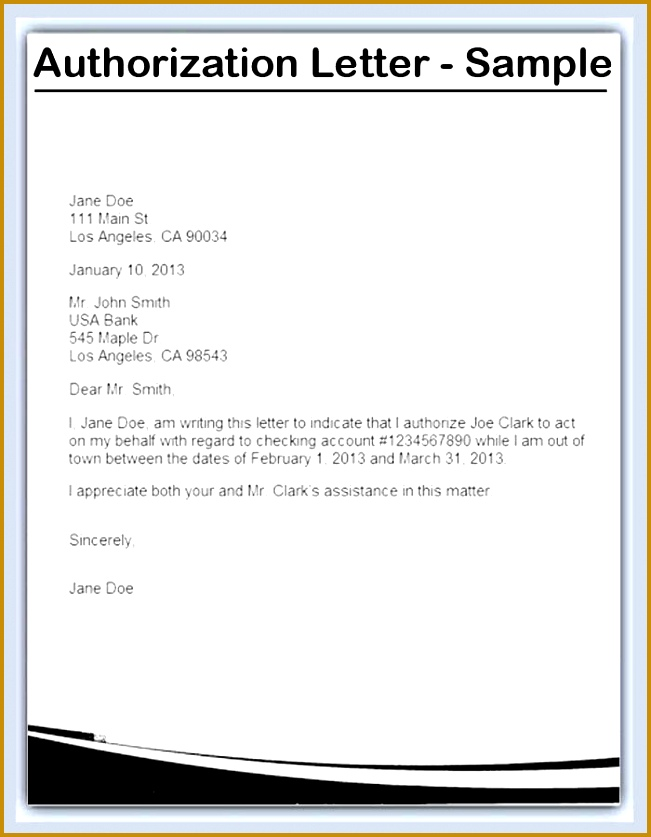 Example of Authorization Letter Authorization Letter 837651