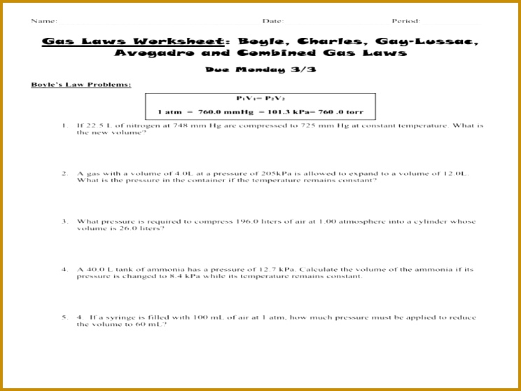 Charles Law Worksheet Best Gas Laws Worksheet 2 Boyle Charles and Bined Gas Laws 558744