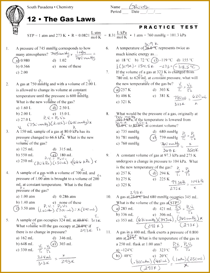 Charles Law Worksheet Answers Gay LussacS Law Worksheet Chemistry Ideal Gas Law Worksheet Answers 952733