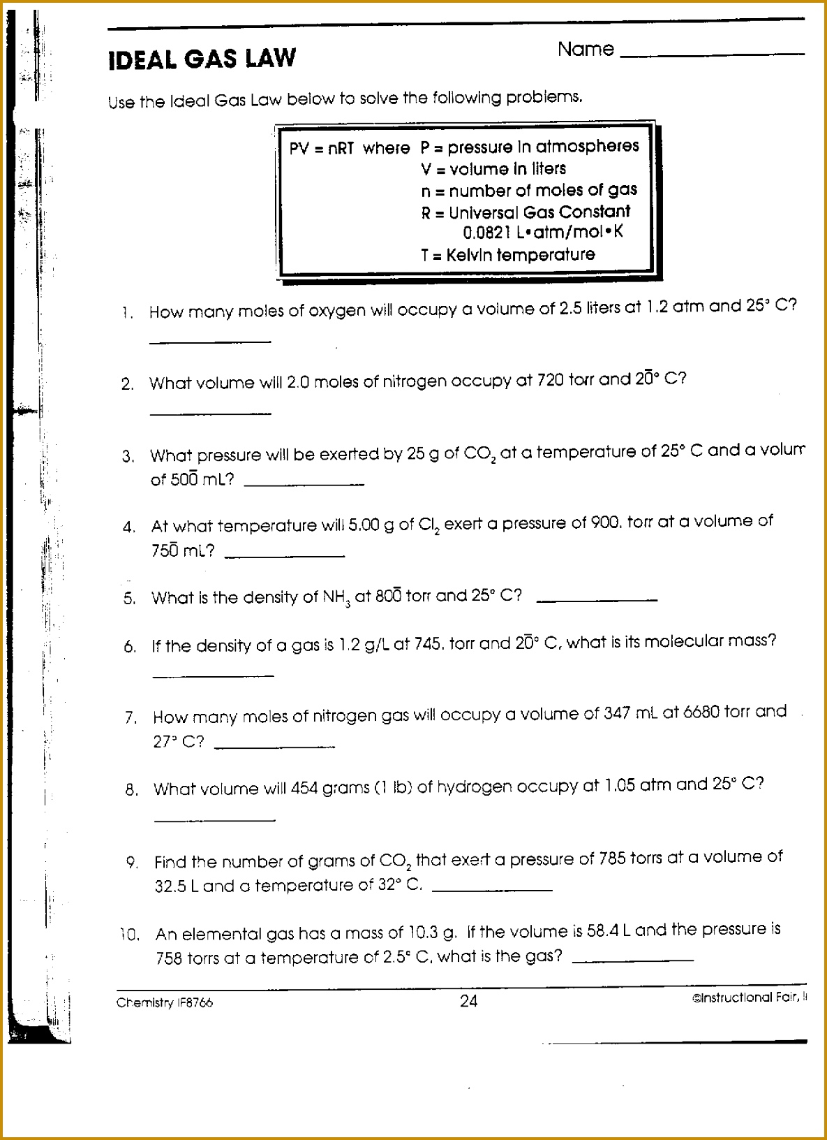 worksheet Ideal Gas Law Worksheets Answers Chemistry Laws Worksheet 16321185
