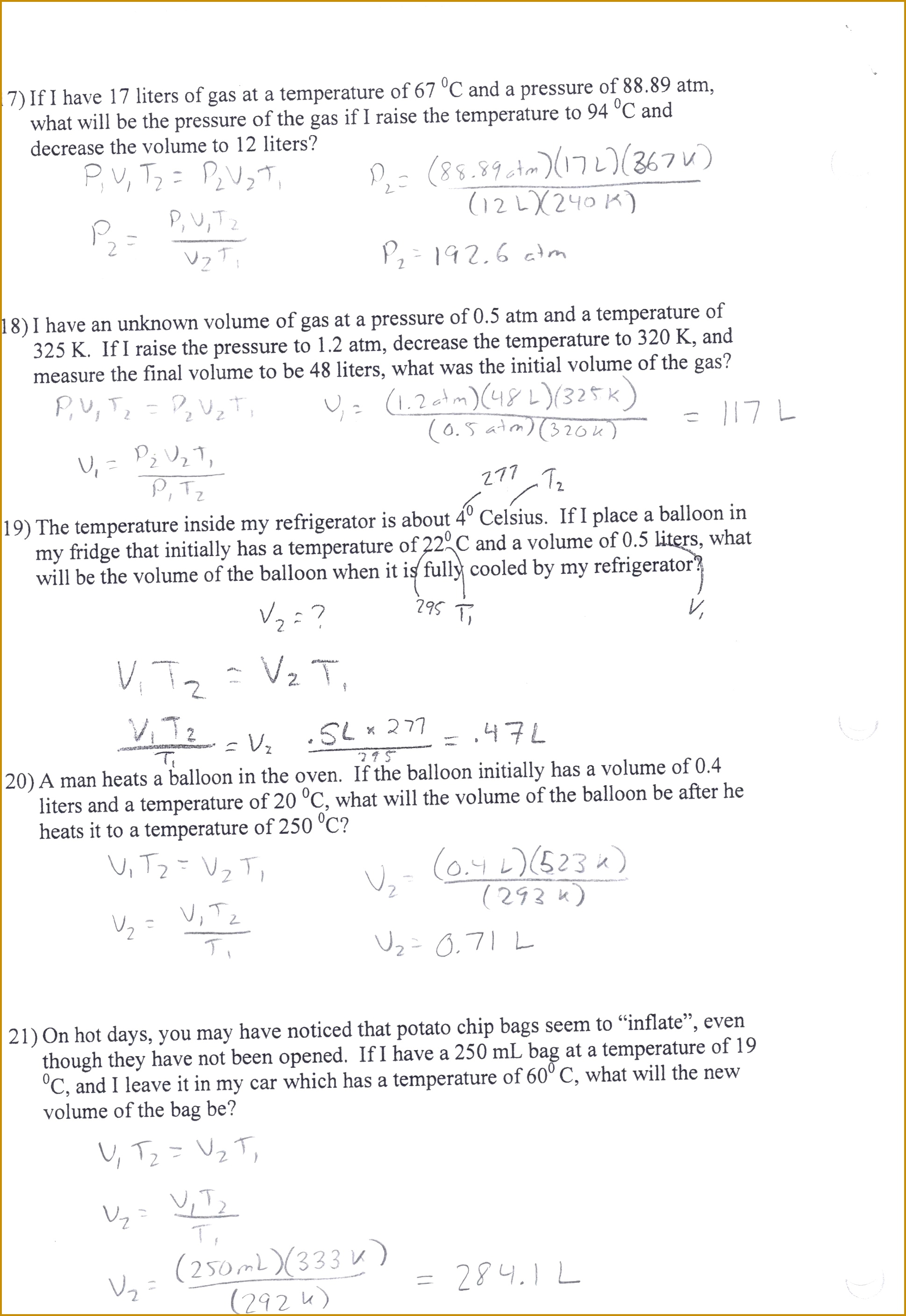 worksheet Ideal Gas Law Worksheets Answers Worksheet Review Org 19392816
