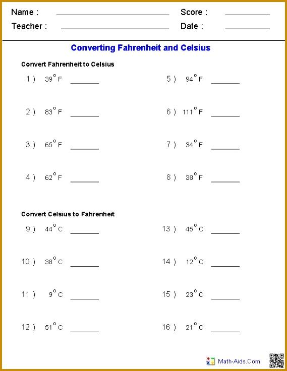 Converting Fahrenheit & Celsius Temperature Measurements Worksheets 736569