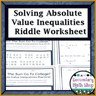 Solving Multi Step Absolute Value Inequalities Practice Riddle Worksheet 325325