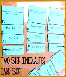 This two step inequalities card sort was perfect for my 7th grade math students I 254219