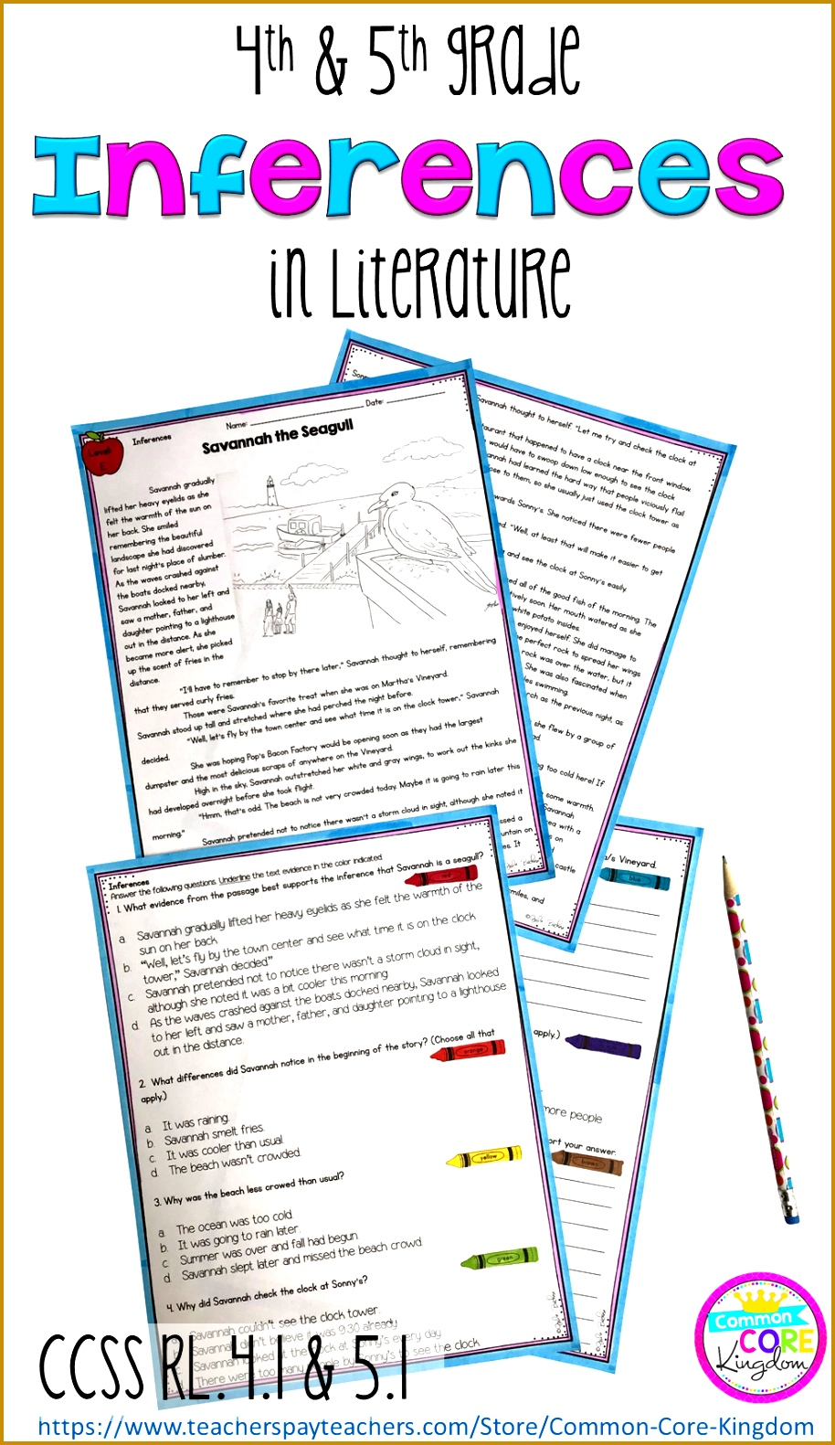 Inferences in Literature 4th & 5th Grade RL 4 1 RL 5 1 1581914