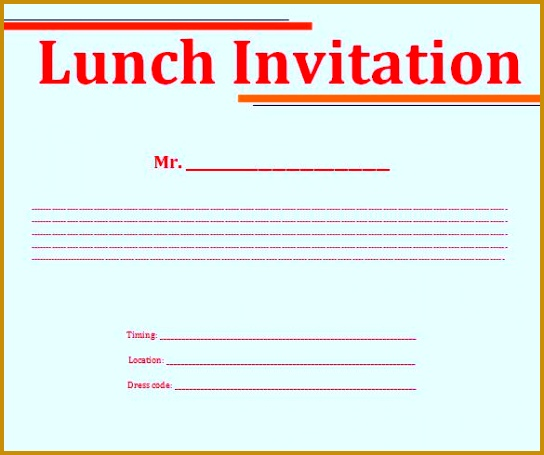Lunch Invitation Template Word 455544