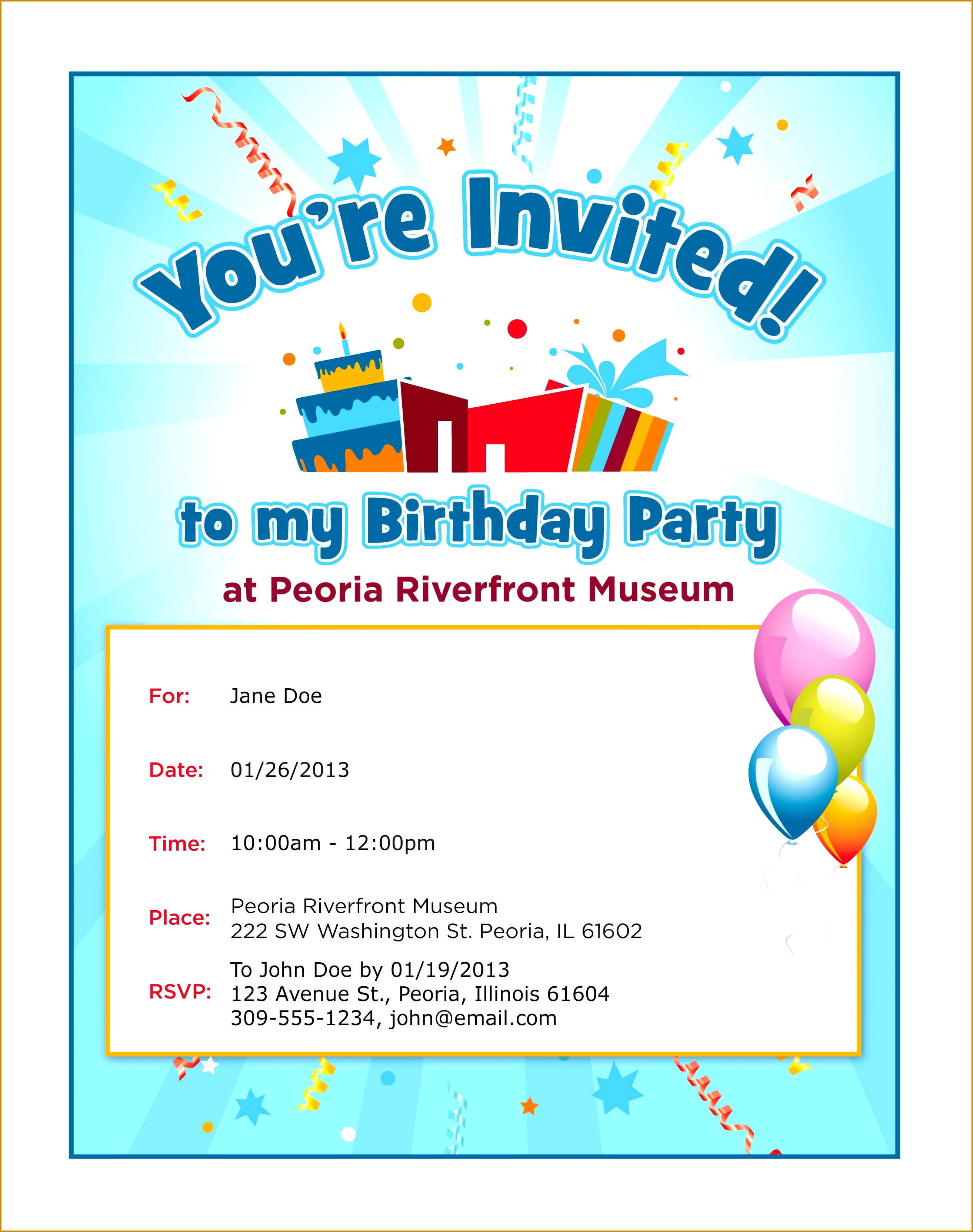 Kids birthday party invitation letter sample images invitation kids birthday invitation inspirational colors kids birthday party 33242627