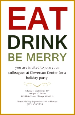 Eat Drink and be Merry Invitation Template 239367