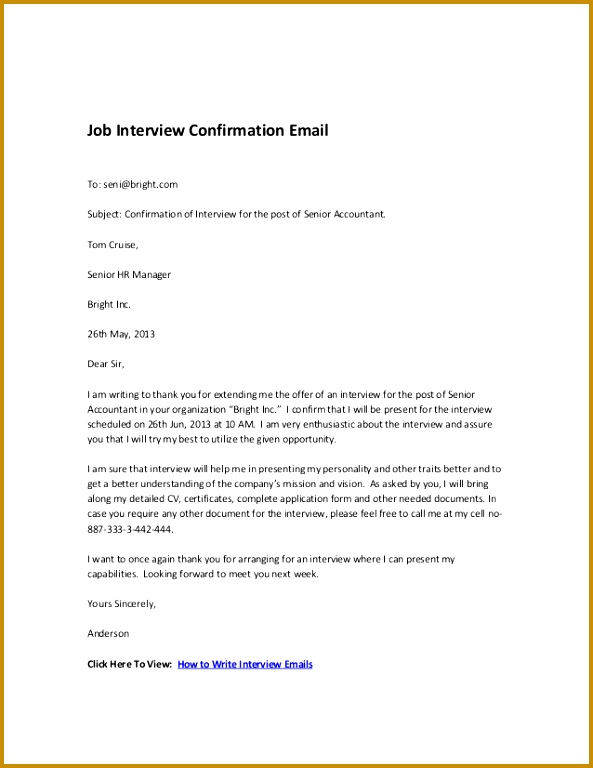Job Interview Confirmation Email To seni bright Subject Confirmation of Interview 768593