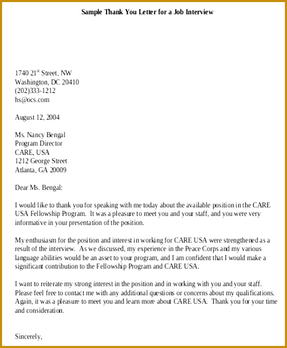 Formal Thank You Letter for Interview 678558