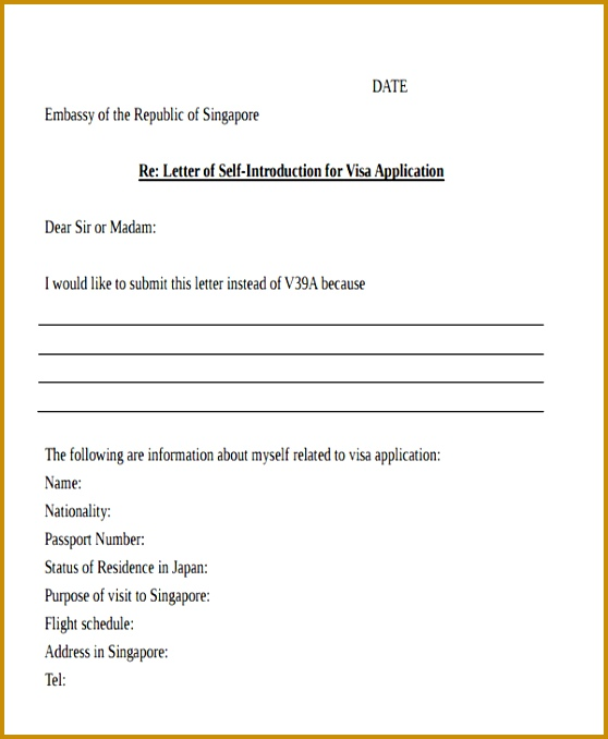 Self Introduction Letter for Visa Application Template 678558