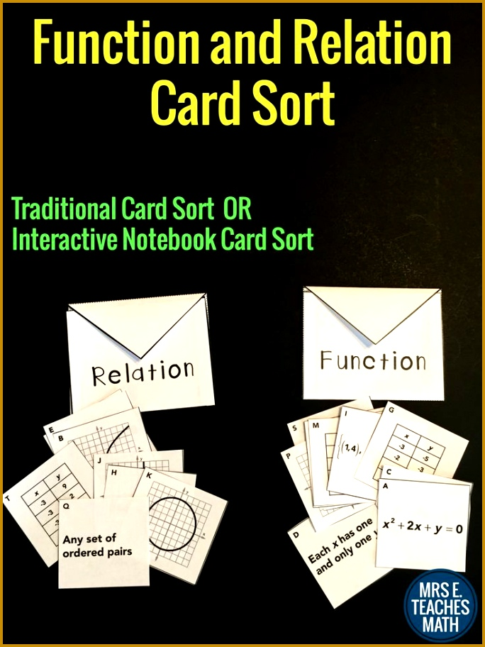 Functions and Relations Card Sort 912684