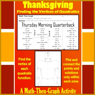 Enjoy Thanksgiving and give students the practice they need at finding the vertices of quadratic functions 325325
