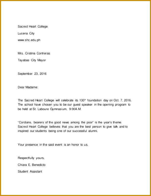 Invitation Letter Sample Sacred Heart College Lucena City Mrs Cristina Contreras 768593