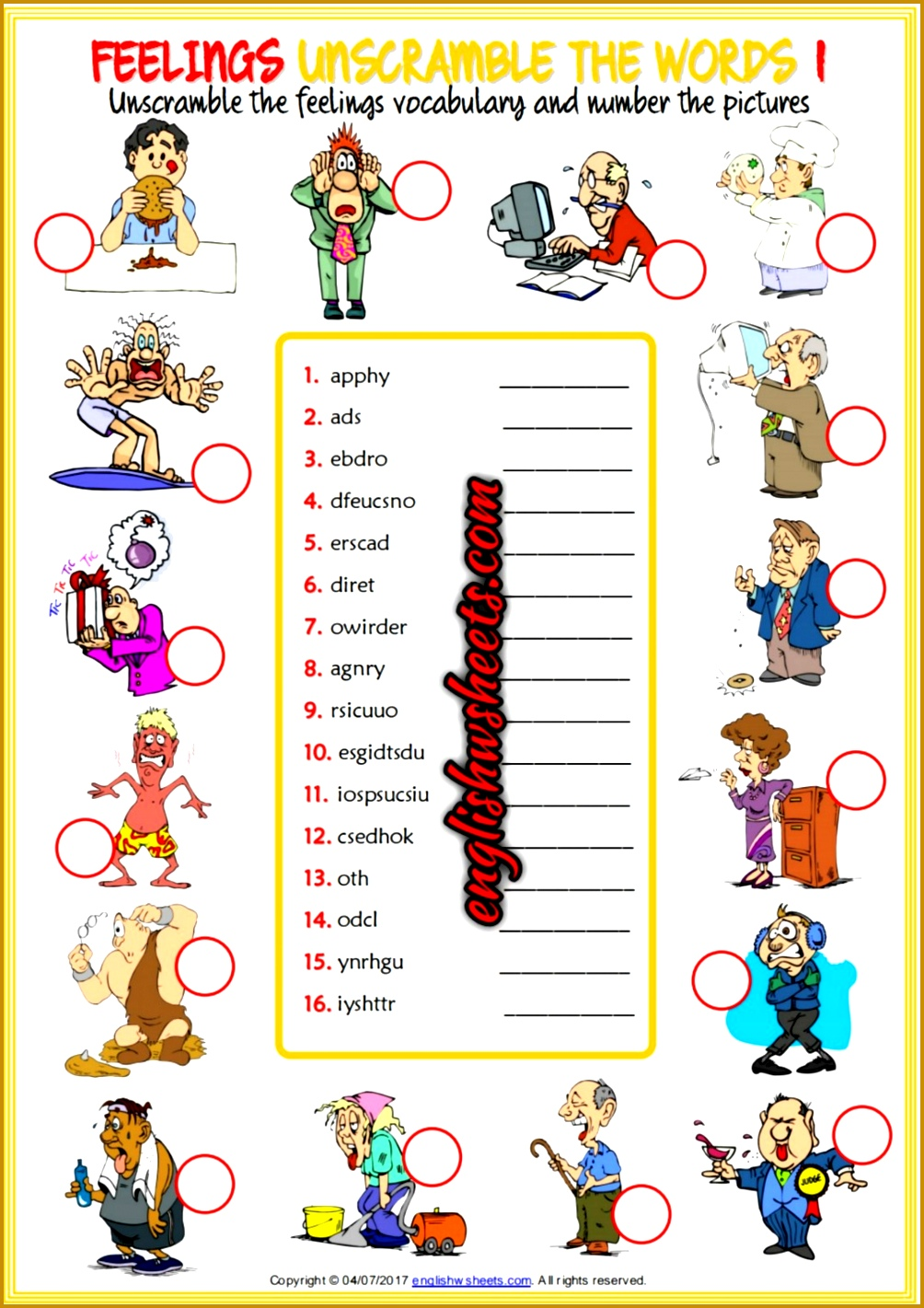 Feelings Emotions Esl Printable Unscramble the Words Worksheets For Kids 14211004
