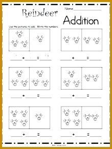 Free Reindeer Math Worksheet for Kindergarten – Great for December and Christmas Students use the pictures to plete the addition math sentence 291219
