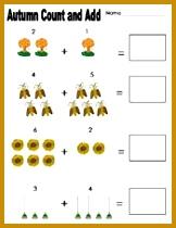 Preschool and Kindergarten Fall Math Worksheets 210162