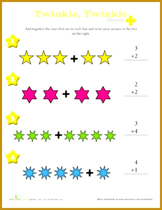 Strengthen your beginner s math skills by having her plete this basic addition worksheet by counting the number of stars in each box to solve the 325421