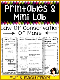 Law of Conservation of Mass Worksheets and Mini Investigation 325244