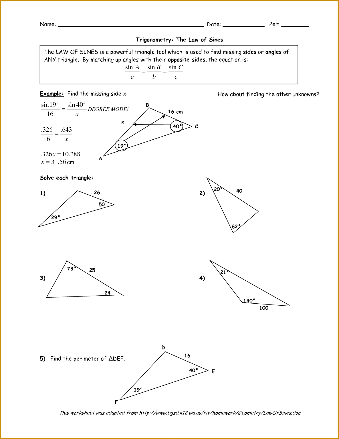 Worksheets Law Sines And Cosines Worksheet law of sines worksheet beautiful cosines free awesome 8 15341185
