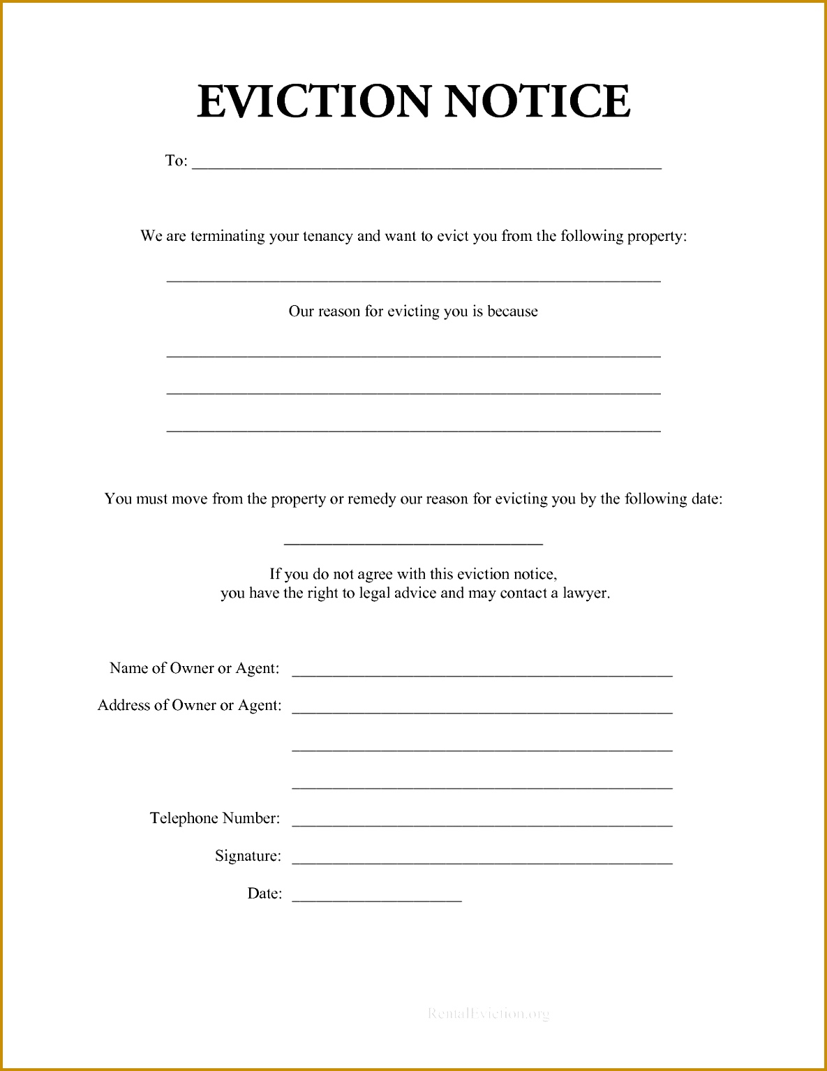 Printable eviction notice notices it resume cover letter sample print out rental g practicable depiction 11851534
