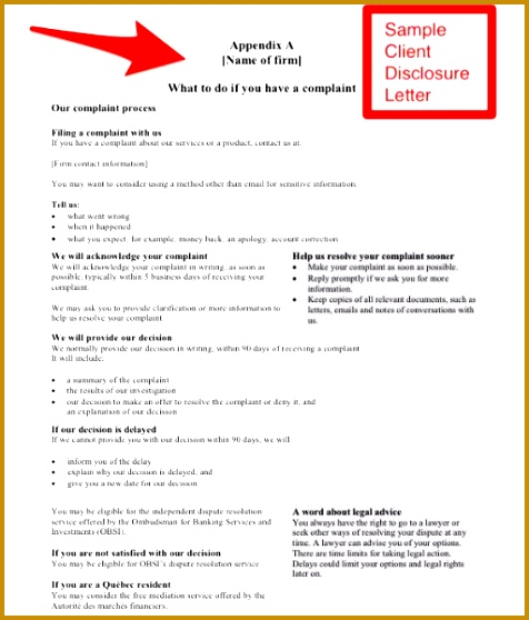 Securities Dispute Resolution – Sample Client Disclosure Letter For Exempt Market Dealers And Others Corporate mercial Law Canada 558476