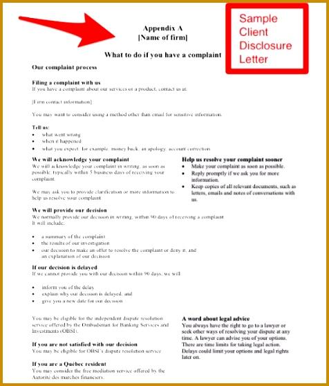 Legal Advice Letter Template 54779 Securities Dispute Resolution – Sample Client Disclosure Letter
