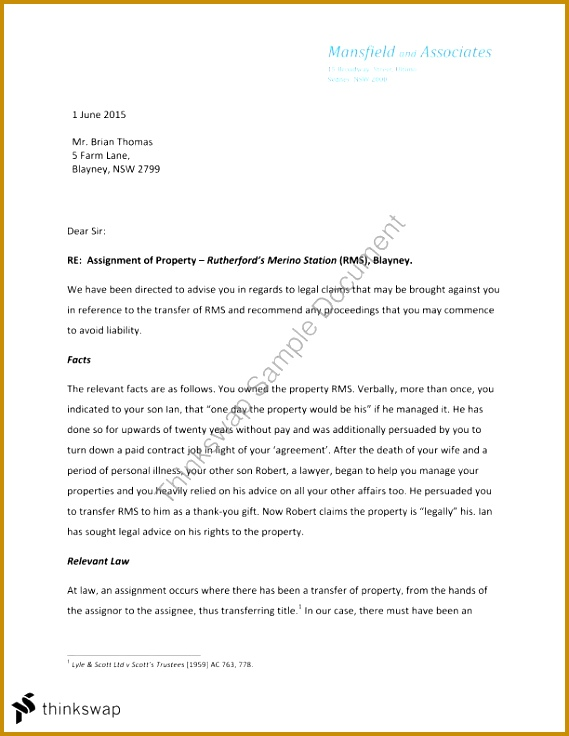 Legal Advice Letter Template 89955 Legal Advice Letter assignment Equity and Trusts