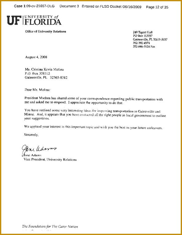Letters of mendation from President Machen of the University of Florida Mayor Alvarez 768593