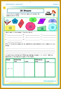 Life skills · Mathematics Geometry 2D Shapes Worksheet 298206