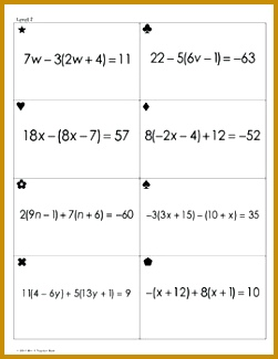 Linear Equations Worksheet 84773 solving Equations with the Distributive Property Sum Em Activity