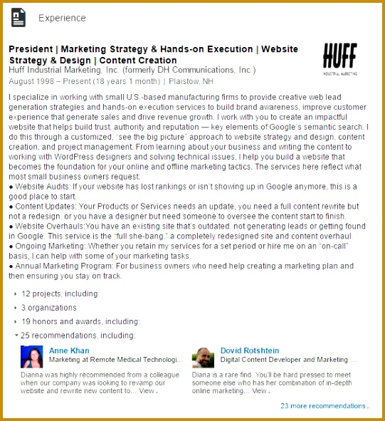 dianna huff experience linkedin example 541591