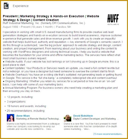 dianna huff experience linkedin example 541591