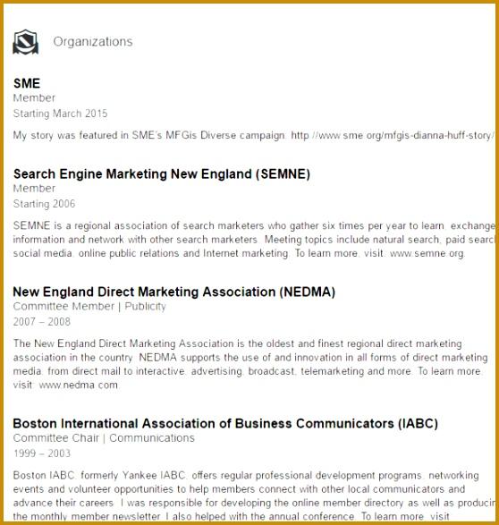 dianna huff organization example linkedin 587558