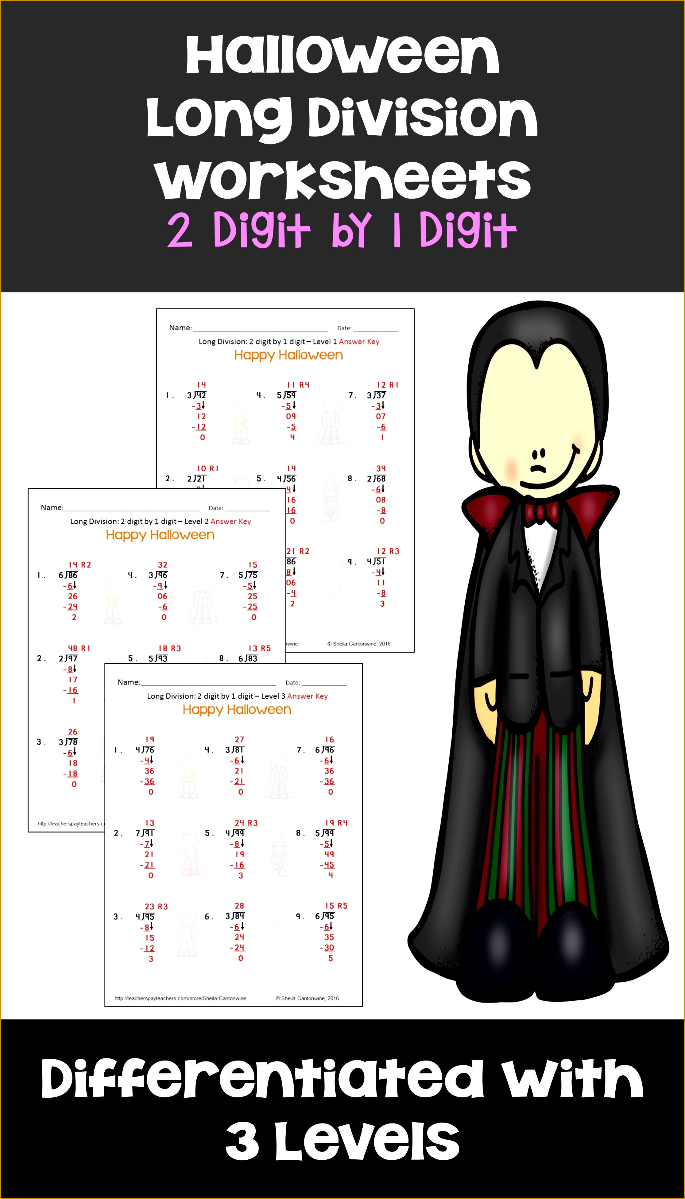 Halloween Math Long Division Worksheets 2 digit by 1 digit Differentiated 39062232