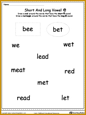 FREE Vowels Short or Long E Sound Words Use this printable worksheet 372279