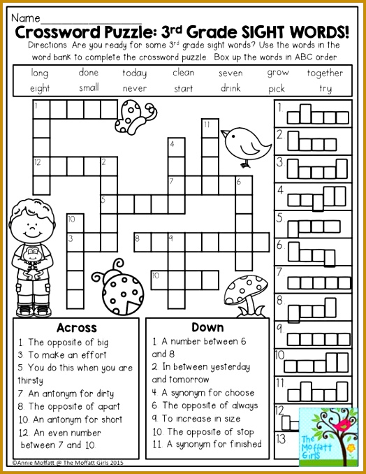 Crossword Puzzle 3rd Grade SIGHT WORDS Great introduction to second grade students ready 678524