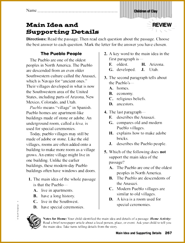 Main Idea and Supporting Details 3rd 5th Grade Worksheet 595783