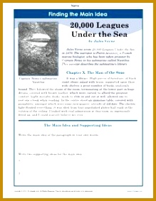 A main idea worksheet about the book 20 000 Leagues Under The Sea Students write 283219