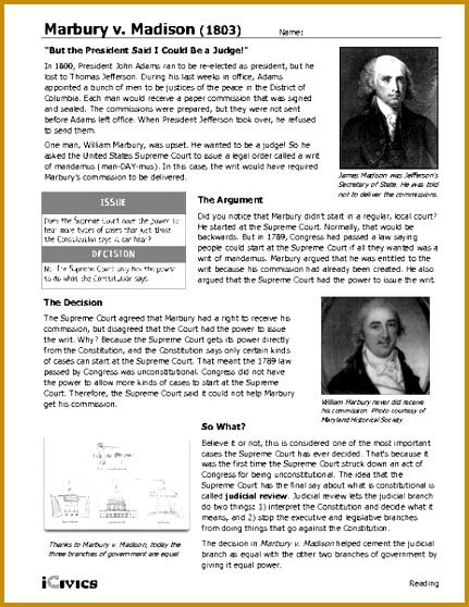 3 Marbury V Madison 1803 Worksheet Answers   FabTemplatez