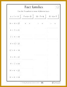 1st grade Math Worksheets Fact families part 2 284219
