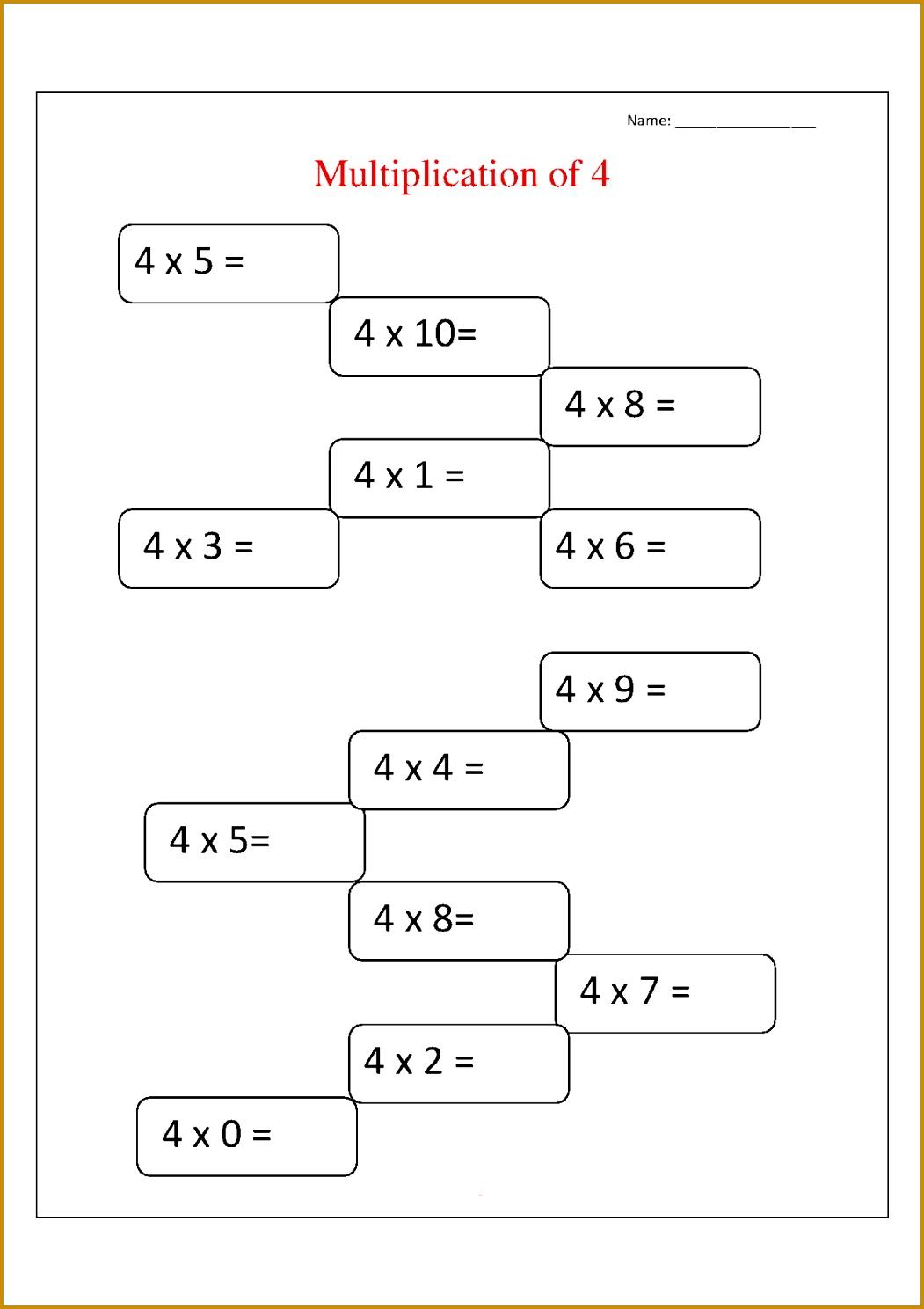 4 Times Table Worksheet for Multiplication 14881051
