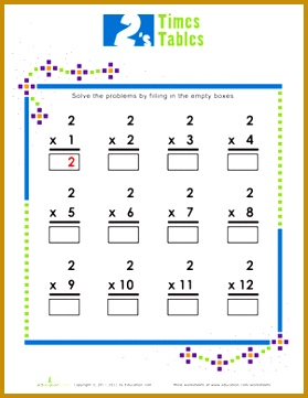 Second Grade Multiplication Worksheets Times Tables 2s 361279