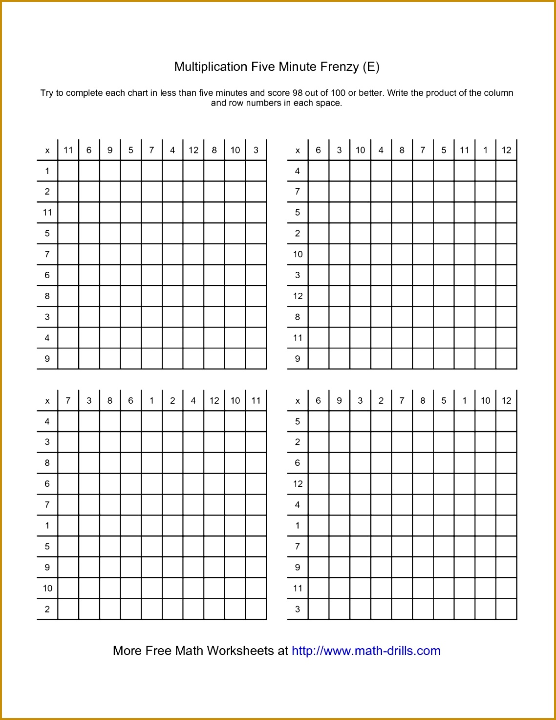 Five Minute Frenzy Four per page E Multiplication Worksheet 14731138